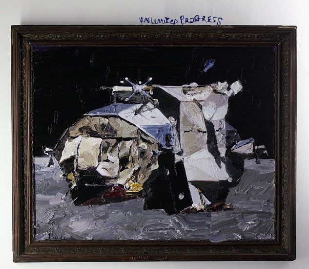 NIGEL MULLINS, Unlimited Progress, Apollo 16 Lunar Module 2014, Oil on Superwood and Frame