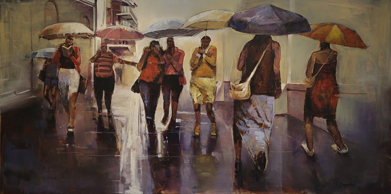 RICKY DYALOYI, Rainy Day 2015, Mixed Media on Canvas