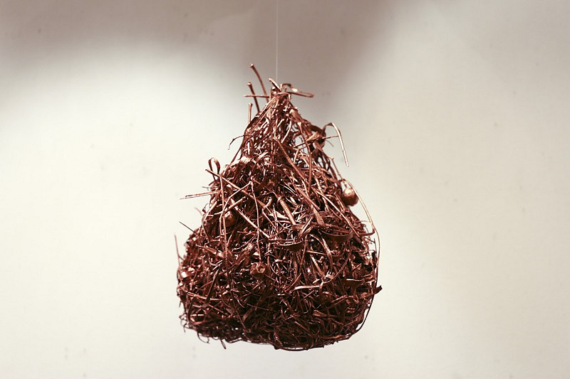 LYNETTE BESTER, Untitled (Rejected) 2016, Copper Electro-Plated Weaver Bird's Nest