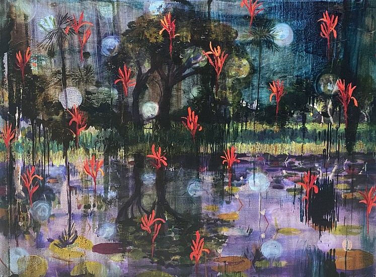 BEEZY BAILEY, REMEMBER WHEN THE RAIN WAS HUGE AND BUBBLES ROSE UP FROM PURPLE DEPTHS AND THE FORESTS ECHOED WITH THE LAUGHTER OF A MILLION BIRDS, FROGS, INSECTS AND CREATURES? LET NOT THE ORCHESTRA OF LIFE FALL SILENT. Mixed Media on Canvas