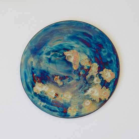 WARTHER DIXON, BLUE STRAGGLER (ARA GALAXY) 2020, BRASS AND WHITE ENAMEL ON GLASS